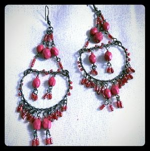 Jewelry - Red Beaded Chandelier Pierced Earrings